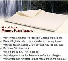 Lasting Impressions Foam / A picture of and brief description of Memory Foam Toppers as available at Lasting Impressions Foam.     Toppers are an excellent addition to existing mattresses if you'd like to experience the comfort of memory foam without completely replacing your mattress.