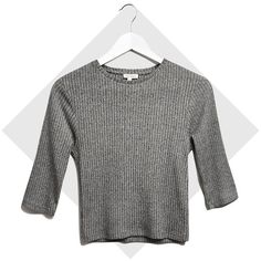 River Island Grey marl rib 3/4 sleeve crop top ($10) ❤ liked on Polyvore featuring tops, sweaters, crop top, grey, sale, t-shirts / tanks, women, ribbed crop top, gray crop top and 3/4 sleeve tops