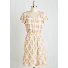 Short Length Short Sleeves A-line Ohio There! Dress (€30) ❤ liked on Polyvore featuring dresses, apparel, fashion dress, multi, sports dresses, plaid dress, short dresses, white dress and short sleeve a line dress
