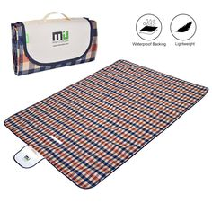 Large Waterproof Outdoor Blanket by MIUCOLOR, Sandproof Picnic Blanket for Camping Hiking Grass Travelling - Orange-Blue Plaid -Dual layers. 5x6.5 feet; large enough for a family or group;. Waterproof and sand-proof bottom; easy to clean by wiping down with a damp cloth. Durable and comfortable with polyester top and PVC bottom; soft foam layer in-between. 12.5x7.5 inches when folded; easily fits into bags, backpacks, glove compartments, etc. MIU COLOR offers 6 MONTHS WARRANTY, NO...