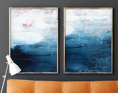 Set of 2 extra large prints, Indigo Acrylic Abstract Painting Giclee of Original Wall Art, Dark Blue Seascape, Navy Minimalist Reproduction