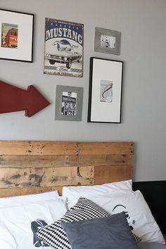 All for the Boys - Tween Boy Room - DIY pallet headboard with two tone wall paint