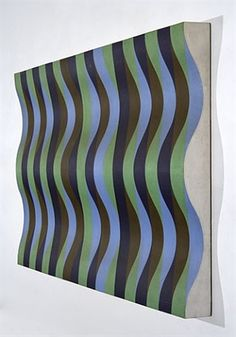 Blue, Green, Violet and Brown Relief by Michael Kidner