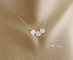 THREE Monogram Charm Necklace, Tiny Initial Disc Necklace, Sterling silver Jewelry, Mom and Children, Family, Sister, Best friends Necklace. $36.00 USD, via Etsy.