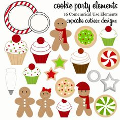 Christmas Holiday Cookie  Clipart.  Whimsical  designs that would look amazing on cards, stationary, or any project.  Use on scrapbooking pages, paper, or elements.  Sweet and adorable designs. These would make great web buttons and for web designs.