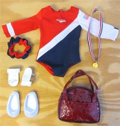 USA Olympics Gymnastics COMPLETE OUTFIT & Bag fits American Girl Doll NEW