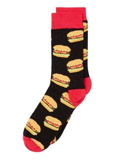 Black Hamburger Motif Socks - Men's Socks -Men's Underwear & Socks- Clothing