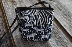 Hipster Bag, Curve Pocket, Cross Body Bag, Zebra Print,  Handmade by LittleHarborDesigns on Etsy