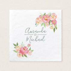 Spring Wedding watercolor Peonies Napkin - spring wedding diy marriage customize personalize couple idea individuel