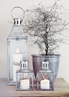Sleek silver candle lanterns are an essential decorating staple that can be used any time of year. Protect yours by using Candle Impressions Flameless Candles to preserve their clean look and prevent wax damage. Light Luz, Candle Lanterns, Silver Lanterns, Garden Lanterns, Metal Lanterns, Home And Deco, Christmas Inspiration, Interior Inspiration, Home Accessories