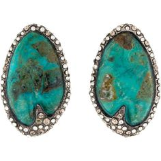 Alexis Bittar Turquoise and Crystal Earrings ($75) ❤ liked on Polyvore featuring jewelry, earrings, alexis bittar jewelry, bezel set earrings, alexis bittar, carved jewelry and blue turquoise jewelry