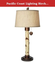 Pacific Coast Lighting Birch Tree Table Lamp in Natural. Made of resin with copper finished hammered metal accents. Drum-shaped linen fabric shade in light brown. Requires one 150-watt medium base bulb. Shade dimensions: 14L x 16W x 10H in.. Overall dimensions: 16W x 34H in.