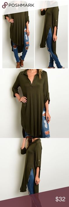 """Olive Hi/Lo Tunic Top Longline knit top with collared neckline and 3/4 sleeves. Hi/low hem with two side slits. Made of soft rayon/ spandex blend.  These run a bit big. Tags say small, but tagged it as S/M   Measurements for S/M  Front length: 37"""" Back length: 47"""" Bust: 38"""" Waist: 40"""" Bchic Tops Tunics"""