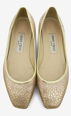 Jimmy Choo Gold And Pink Flat | VAUNTE