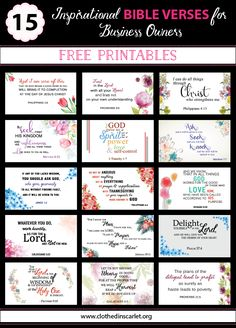 15 Inspirational Bible Verses for Business Owners: Download the FREE Printable Bible Cards here... #Bible #Printables