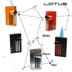 Lotus Orion Twin Torch Flame Cigar Lighters with Fold-Out Punches Are Available at Milan Tobacconists. Since Providing Superior Customer Service and Quality Tobacco Products. Tobacco Shop, Cigar Shops, Premium Cigars, Cigar Lighters, Constellations, Blouse Designs, Mythology, Lotus, Punch