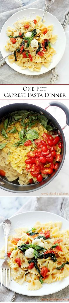 One-Pot Caprese Pasta Dinner - The quickest, most delicious pasta dinner you will ever make! Its all cooked in the same pot!