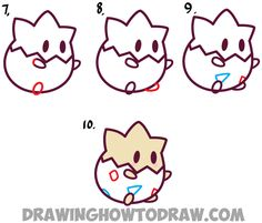 Learn How to Draw Chibi Kawaii Togepi (Cute Baby Version) from Pokemon - Simple Step by Step Drawing Tutorial
