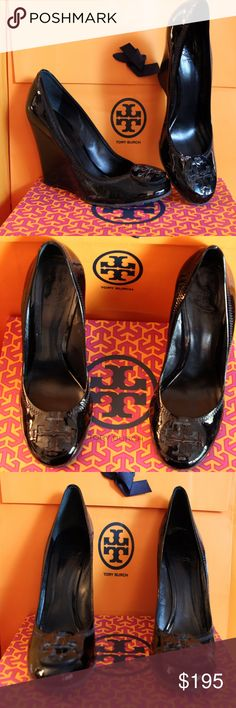 Tory Burch Patent Sophie Wedges Shoes Size 8.5 Fabulous Tory Burch Sophie Black Patent Leather Wedge Shoes Size 8.5 Superb condition with box, look as close to new as can be when only worn maybe a couple of times!! All of my items are Guaranteed 100% Genuine I do not sell FAKES of any kind! NO TRADES (015S096) Tory Burch Shoes