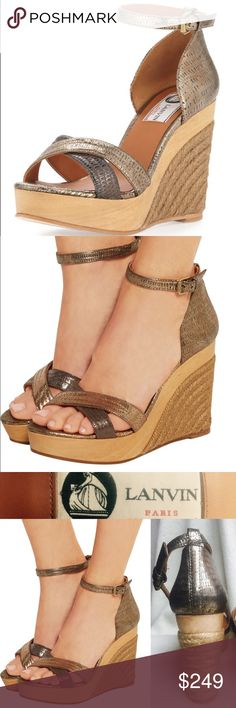 """NWT LANVIN Metallic Gold Leather Espadrille Wedge LANVIN Metallic Gold Leather Espadrille Wedge Sandal Paid $750 new. Size US11 (EU41) NWT unworn. Price = lowest I can go!  Beautiful sandals!! Embossed metallic gold leather, braided jute wedge heel, wooden platform, crisscross toe straps, adjustable ankle strap, closed heel counter, leather lining+footbed, rubber outsole. Made in Spain🇪🇸  Heel H: 4.5"""", Platform H: 1.5"""" (like 3"""" heel)  Brand new & unworn; can't find box/dustbag (will ship…"""