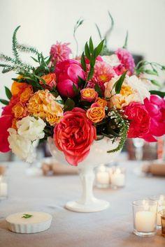 Bright floral centerpiece: http://www.stylemepretty.com/little-black-book-blog/2015/01/08/colorful-summer-santa-barbara-wedding/ | Photography: Ashleigh Taylor - http://www.ashleightaylorphotography.com/