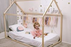 Pastel girls room interior decor, toddler bed, house bed, tent bed, children bed, wooden house, wood house, wood nursery, kids teepee bed, wood bed frame, wood house bed