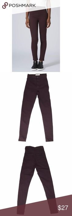 "Topshop 'Moto Joni' Aubergine Jeans Skin tight and ultra-high-rise with a retro tinged silhouette, the super-stretchy ankle grazing MOTO Joni is made for the fashion brave. Crafted in a spray-on skinny fit, the killer style comes with practical back pockets and a zip fly closure in a gorgeous aubergine color. RN # 125149. Rise 9.5"", Inseam 25"", Leg opening 8"". 60% cotton/33% poly/5% elastane. Topshop Jeans Skinny"