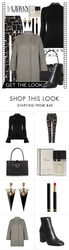 """Graphic Print Pants"" by ann-kelley14 on Polyvore featuring Warehouse, Tara Jarmon, Radley, Oscar de la Renta, Gucci, Jaeger and Office"