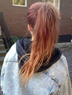 ombre red copper ponytail