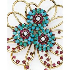18 Karat Gold, Diamond, Ruby and Turquoise Brooch and Earclips by JOHN RUBEL