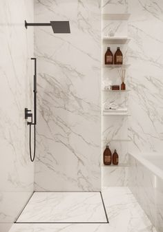 Modern Renaissance Apartments on Behance Modern Marble Bathroom, Minimalist Bathroom, Small Bathroom, Master Bathroom, Bathroom Design Luxury, Modern Bathroom Design, Home Interior Design, Bathroom Design Inspiration, Bad Inspiration