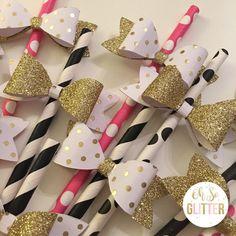 Kate Spade inspired paper straws, bow straws, First birthday, baby shower decor, bridal shower, paper straws, gold party, baby shower table by OhSoGlitter on Etsy https://www.etsy.com/listing/495510475/kate-spade-inspired-paper-straws-bow