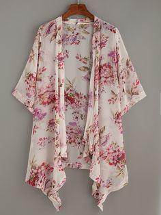 To find out about the White Flower Print Asymmetric Chiffon Kimono at SHEIN, part of our latest Kimonos ready to shop online today! Kimono Fashion, Modest Fashion, Hijab Fashion, Boho Fashion, Fashion Dresses, Japan Fashion, Street Fashion, Trendy Fashion, Moda Hijab