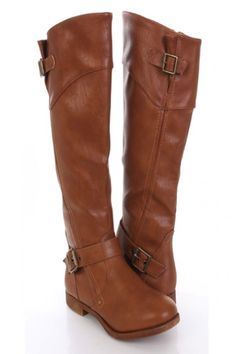 Tan Faux Leather Buckled Strapped Riding Boots $30.99