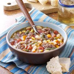 Beef Macaroni Soup....excellent, quick and easy! I substituted Ditalini pasta for elbow and doubled the broth.