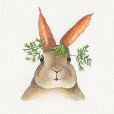 Rabbit Easter card Design No 26 by Chopskeenan on Etsy Gouache Painting, Watercolor Paintings, Original Paintings, Original Art, Watercolor Images, Watercolours, Carrot Drawing, Bunny Drawing, Rabbit Art