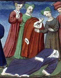 "Boccace's ""Decameron"" (trad-Laurent de Premierfait) 1425-50 - here you can see the collar in back is more rounded, not a V."