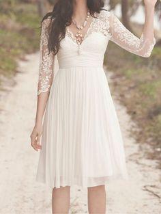 Chiffon knee-length beach wedding dresses, Lace Sleeves Wedding Dresses Chiffon Wedding Dress bridal dress, V Neck Short Wedding Dress