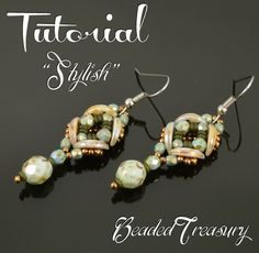 STYLISH - beaded earrings tutorial, beading tutorial, Crescent bead pattern, seed beads, Demi Round bead pattern / TUTORIAL ONLY | BeadedTreasury