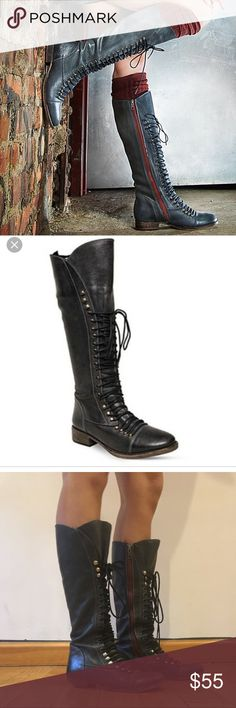 Steve Madden Perrin Lace Up Military Boots  6/6.5 Fits sizes 6-6.5. I'm a 6 but wear this 6.5. Great condition. Heels both worn but I don't notice a difference when walking! Color is black but more of an ash gray as pictured Steve Madden Shoes Lace Up Boots