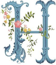 alfabeto celeste con flores H