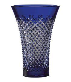 Blue Glass Vase, Cobalt Glass, Glass Art, Cobalt Blue, Waterford Lismore, Waterford Crystal, Bohemia Glass, Crystal Vase, Bohemia