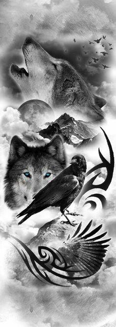 32 Ideas tattoo wolf sleeve wolves spirit animal for 2019 Wolf Tattoo Design, Wolf Design, Tattoo Designs, Art Designs, Design Tattoos, Wolf Sleeve, Wolf Tattoo Sleeve, Full Sleeve Tattoos, Lion Sleeve