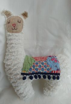 Stuffed Llama/Allpaca from Repurposed Vintage Chenille Bedspread and Vintage Quilt, Ivory Chenille, Pom Pom Fringe, x Llama Plushie by VintageMakeoverbyJoy on Etsy Chenille Crafts, Chenille Blanket, Chenille Bedspread, Chenille Fabric, Fabric Crafts, Sewing Crafts, Sewing Projects, Bedspreads, Sewing Ideas