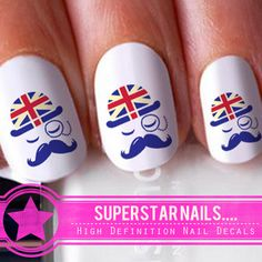 20 Hat Moustache England Union Jack Flag Nail Art Decals Stickers Transfer 074 £1.62