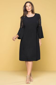 Sara Lace Bell Sleeve Dress at EziBuy Australia. Buy women's, men's and kids fashion online. Plus Size Fashion Dresses, Trendy Plus Size Clothing, Plus Size Dresses, Plus Size Outfits, Dresses For Work, Bell Sleeve Dress, Bell Sleeves, Cold Shoulder Dress, Women Wear