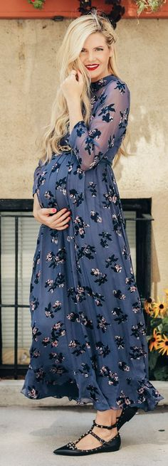 Navy Printed Maxi Dress Everyday Pregnant And Girly Fall Outfit Idea #Barefoot Blonde