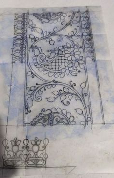 Hand Embroidery Patterns Free, Border Embroidery, Hand Embroidery Stitches, Embroidery Art, Stencil Patterns, Textile Patterns, Pattern Art, Textile Design, Saree Painting