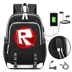 ROBLOX Backpack with USB Charging Port   Headphone Interface 52e0d57c07607