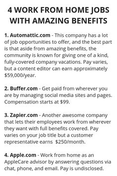 4 work from home jobs with amazing benefits